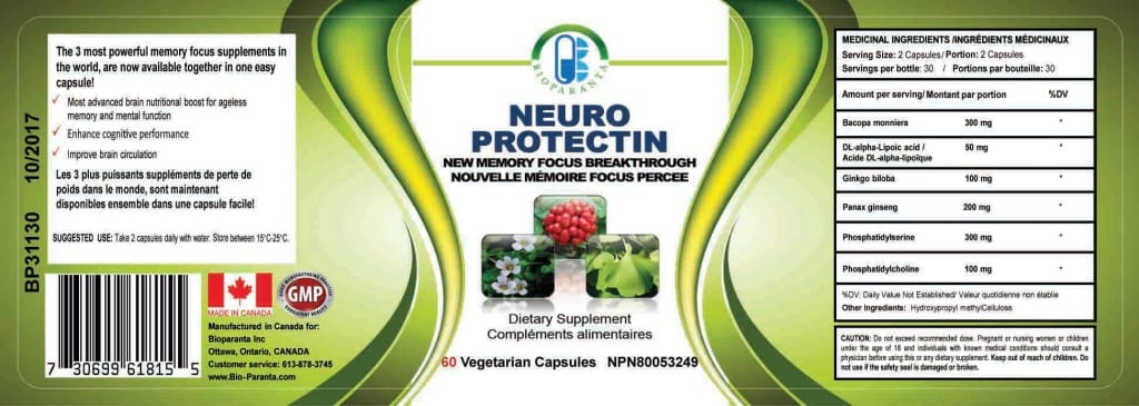 Neuroprotectin label made in Canada by bioparanta