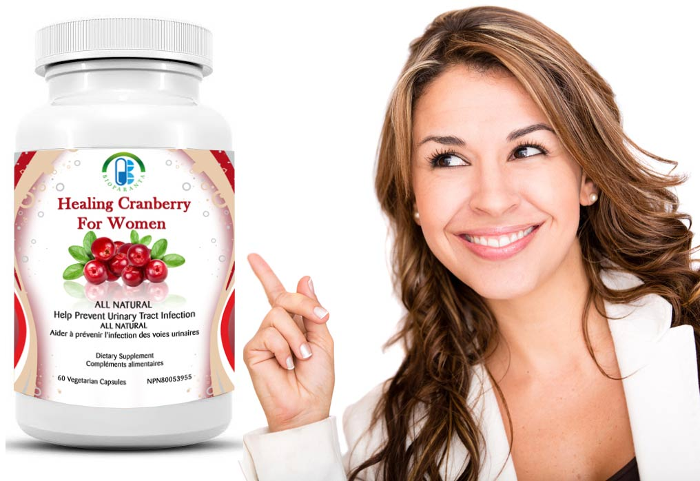 healing cranberry for Women prevent Urinary tract infection made in bioparanta all natural made in canada