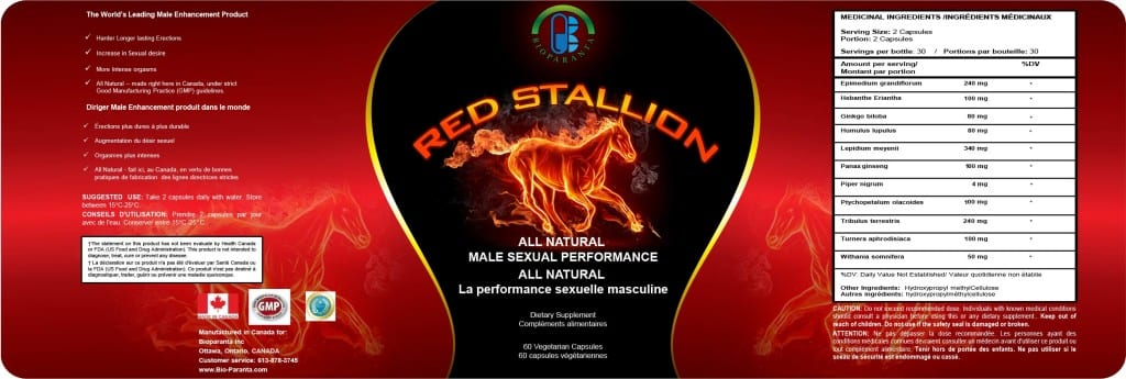 red stallion label sexual dysfunction enhancement aphrodisiac all natural canada