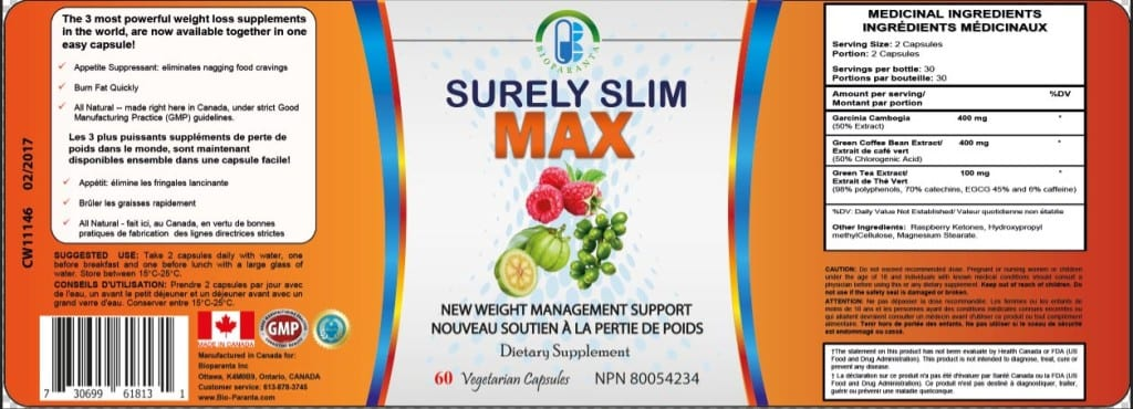 surely slim max label by bioparanta for weight-loss all natural made in canada